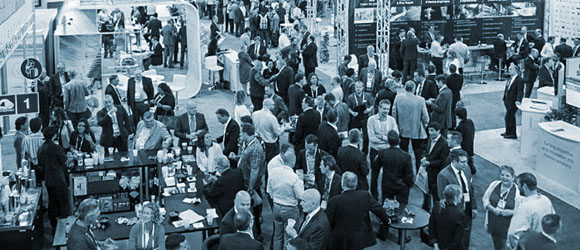 Overhead view of a crowded trade show